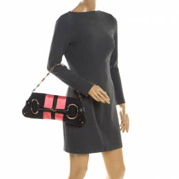 Gucci Black/Pink GG Canvas and Satin Small Limited Edition Tom Ford Horsebit Web Chain Clutch 200990