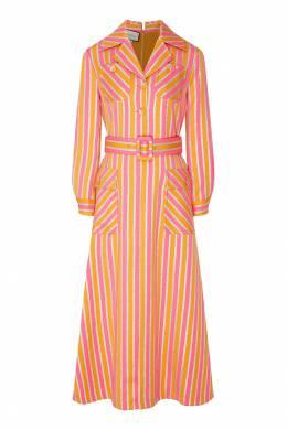 Полосатое платье-рубашка с люрексом Gucci 470139935
