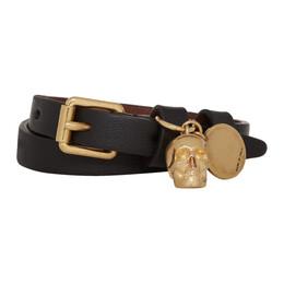 Alexander McQueen Black and Gold Double Wrap Skull Bracelet 192259F00700601GB