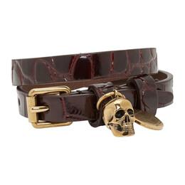Alexander McQueen Red Croc Double Wrap Skull Bracelet 192259F00700301GB