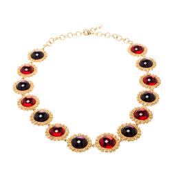Dolce & Gabbana Multicolor Resin Filigree Beaded Gold Tone Necklace 209360