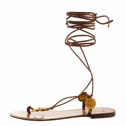 Valentino Brown Braided Leather Abyss Seashell Lace Up Flat Sandals Size 38 207885