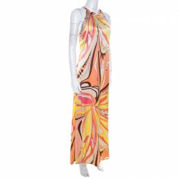 Emilio Pucci Firenze Multicolor Abstract Print Silk Maxi Halter Dress M 208536