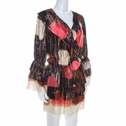 M Missoni Multicolor Abstract Print Silk Drop Waist Tiered Dress S 208453