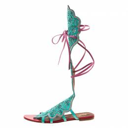 Malone Souliers Tricolor Suede And Leather Lazer Cut Tie Up Flat Sandals Size 40