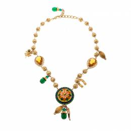 Dolce & Gabbana Multicolor Crystal Gold Tone Filigree Beaded Charm Necklace 209369