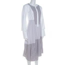 Carven White Multi Striped Cotton Paneled Asymmetric Hem Midi Dress L 208635