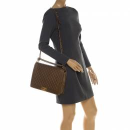 Chanel Brown Quilted Leather Large Boy Flap Bag 209010