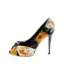 Giuseppe Zanotti Design Printed Satin Bow Detail Peep Toe Pumps Size 38 209130