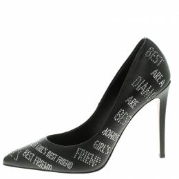 Le Silla Black Crystal Embellished Leather Pointed Toe Pumps Size 39 104298