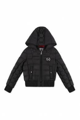 Короткая черная куртка с капюшоном Philipp Plein Kids 2714140964