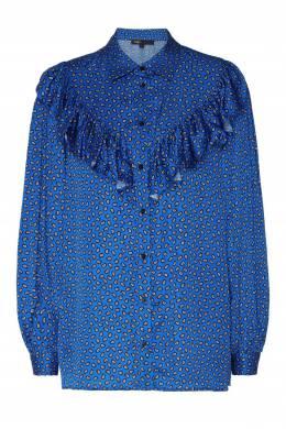 Синяя блуза с принтом и рюшами Maje 888138999