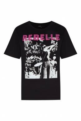Черная футболка с принтом и яркой надписью Maje 888140181
