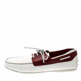 Tod's For Ferrari Two Tone Leather Boat Loafers Size 44 209451