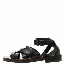Givenchy Black Leather Crisscross Ankle Strap Sandals Size 43