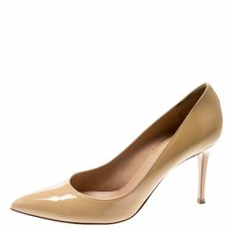 Gianvito Rossi Beige Patent Leather Pointed Toe Pumps Size 41 209743