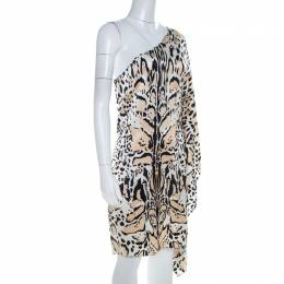 Roberto Cavalli Multicolor Silk Animal Print One Shoulder Asymmetrical Dress L 209572