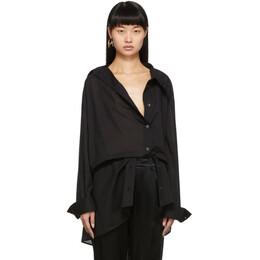 Ann Demeulemeester SSENSE Exclusive Black Asymmetric Shirt 192378F10901302GB