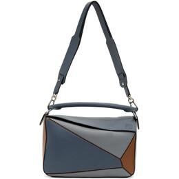 Loewe Blue and Tan Large Puzzle Bag 192677F04800501GB