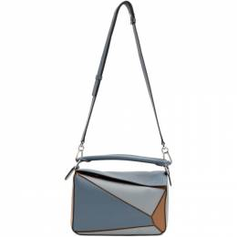 Loewe Blue and Tan Small Puzzle Bag 192677F04801701GB