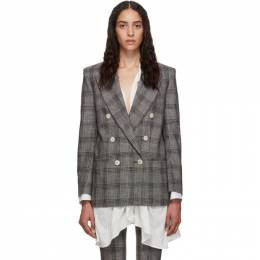 Isabel Marant Black and White Check Dallin Blazer 192600F05700201GB
