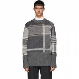 Thom Browne Grey Plaid Oversized Crewneck Pullover MKA250A-00278