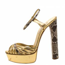 Casadei Gold/Beige Leather and Python Trim Strappy Platform Open Toe Sandals Size 38 208628