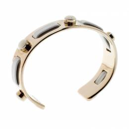 Tod's White Leather Gold Tone Open Cuff Bracelet 209336