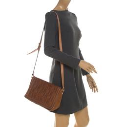 Carolina Herrera Brown Monogram Leather Shoulder Bag 208959
