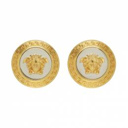 Versace Gold and Silver Large Icon Medusa Earrings DG2G548 DJMT