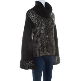 Escada Green Foil Printed Mohair Blend Turtleneck Sweater L 209739