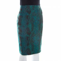 Versace Collection Green Snakeskin Patterned Jacquard Pencil Skirt M 209276