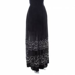 Ermanno Scervino Black Applique Border Detail Pleated Maxi Skirt M 209467