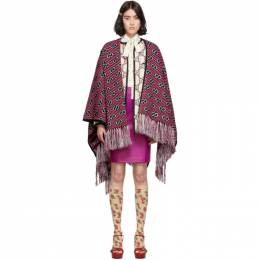 Gucci Pink and Black Jacquard Stripe GG Poncho 578498 3GD40