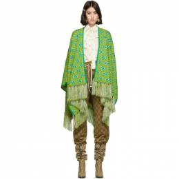 Gucci Green and Yellow Jacquard Stripe GG Poncho 578498 3GD40