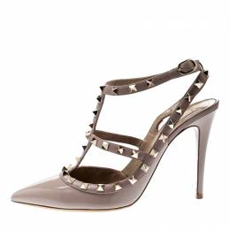 Valentino Beige Patent Leather Rockstud Ankle Strap Sandals Size 39 218520