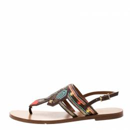 Valentino Brown Embroidered Leather Flat Sandals Size 37 210496