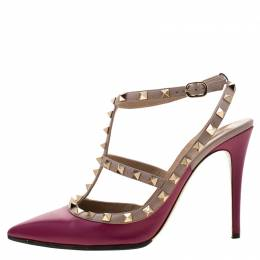 Valentino Burgundy Leather Rockstud Sandals Size 41 209100