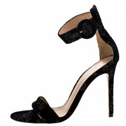 Gianvito Rossi Black Floral Embroidered Velvet Portofino Ankle Strap Sandals Size 36 209290