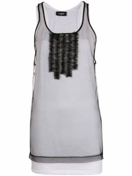 Dsquared2 sheer frill-embroidered tank top S72FZ0051STJ233