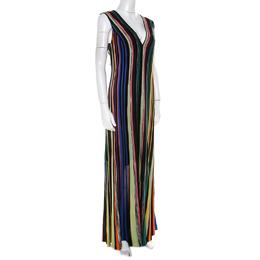 Missoni Multicolor Striped Lurex Knit Sleeveless Maxi Dress L 210643