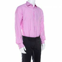 Ralph Lauren Pink and White Gingham Checked Cotton Aston Button Front Shirt XXL 210305