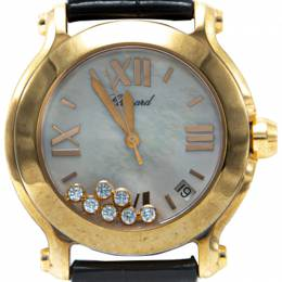 Chopard White Mother Of Pearl Dial 18K Rose Gold Happy Sport Diamond Women's Watch 36MM