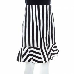 Dolce & Gabbana Black and White Striped Cotton Knit Peplum Detail Skirt M 210944