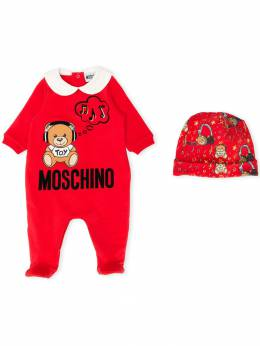 Moschino Kids комплект Teddy Bear из комбинезона и шапки MUY028LDA17