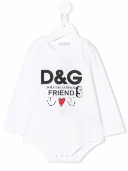 Dolce & Gabbana Kids боди с принтом логотипа L2JOL1G7QDX