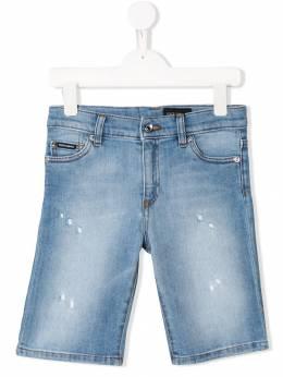 Dolce & Gabbana Kids состаренные джинсовые бермуды L42Q37LD693
