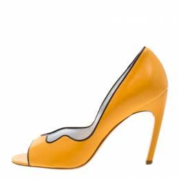 Roger Vivier Yellow Leather Peep Toe Pumps 37.5