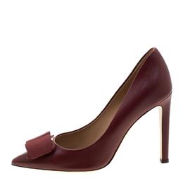 Salvatore Ferragamo Burgundy Leather Mini Bow Detail Pointed Toe Pumps Size 40.5 209774