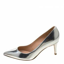 Gianvito Rossi Metallic Silver Leather Pointed Toe Pumps 35 210904